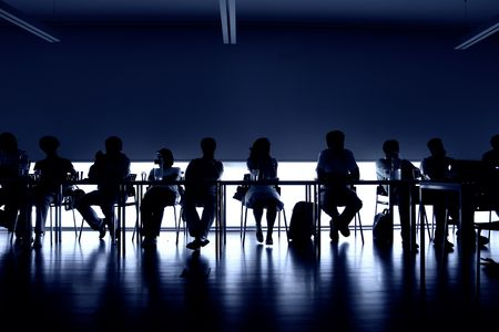 group of people at a meeting, interior picture