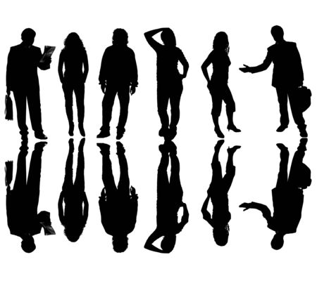 young business team in silouette, isolated on white photo