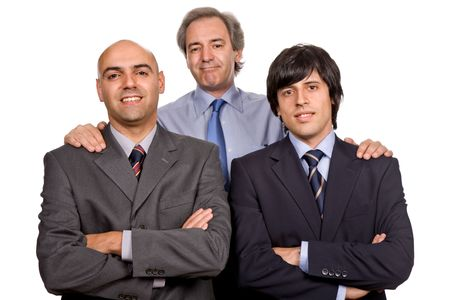 reviewing: three business man isolated on white background Stock Photo