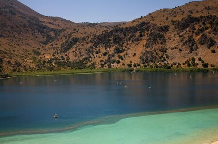 famous kournas lake in the greek island of crete photo