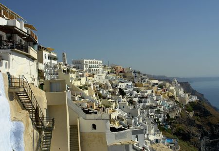 view of Thira at the greek island of Santorini Stock Photo - 3605542