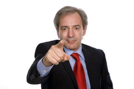 Businessman in a suit pointing, focus on the finger Stock Photo - 3629914