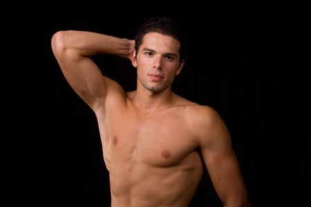 young sensual man on a black background Stock Photo - 3675594