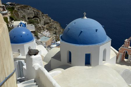 thira: view of Thira at the greek island of Santorini