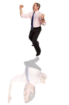 mature business man dancing with distorced reflection photo