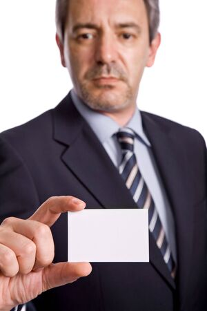 ad: businessman offering business card, focus on the hand