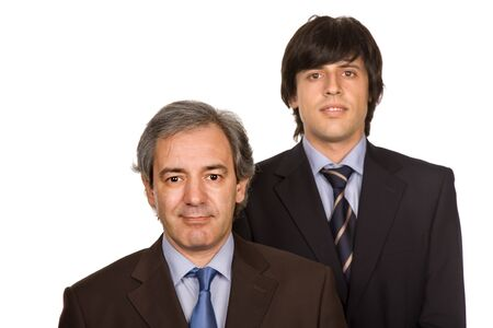 two young business men portrait, focus on the right man photo