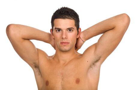 hombre desnudo: j�venes casual hombre desnudo aislado en blanco Foto de archivo