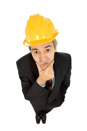 bore: An engineer with yellow hat, isolated on white