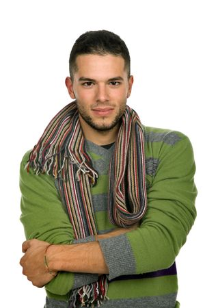 studio picture of a young man dressed for winter photo