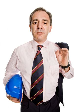 An engineer with blue hat, isolated on white Stock Photo - 3854652