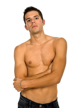 young sensual man on a white background Stock Photo - 4187310