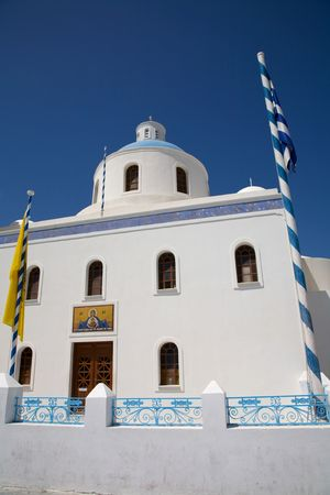 typical church of santorini island, in greece. village of Ia photo