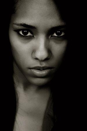 young beautiful woman closeup portrait, studio shot 스톡 콘텐츠
