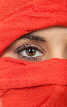 young woman eye close up, studio picture photo