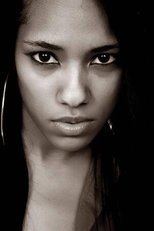young beautiful woman closeup portrait, studio shot Stock Photo - 4472475