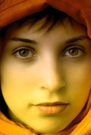 young beautiful woman, close up portrait, clored photo