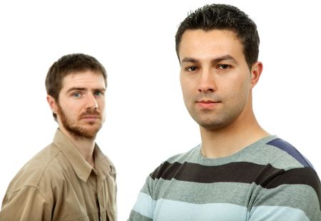 two young casual men portrait, isolated on white Stock Photo - 4532228