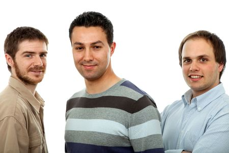 three casual men isolated on white background Stock Photo - 4560258