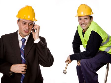 workers in a white background, focus on the left man photo
