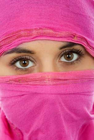veiled: young woman with a veil, close up portrait, studio picture Stock Photo