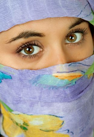 young woman with a veil, close up portrait, studio picture Stock Photo - 4591457