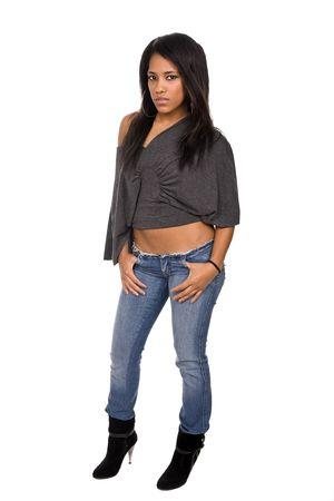 mujer cuerpo completo: joven mujer hermosa de todo el cuerpo, aisladas en blanco