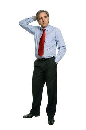 caras tristes: maduro hombre de negocios aislados sobre fondo blanco Foto de archivo