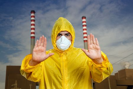 man with mask and open hands making stop to pollution