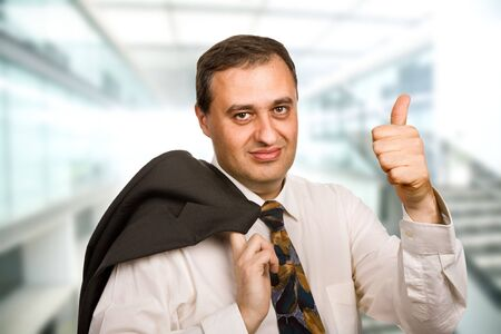 happy mature business man going thumb up Stock Photo - 4867308