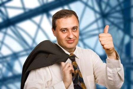 happy mature business man going thumb up Stock Photo - 4987172