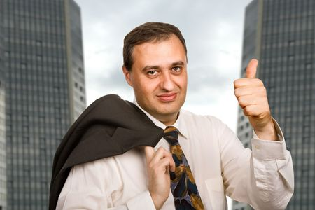 happy mature business man going thumb up Stock Photo - 5053148