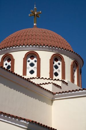 roof top of a typical church in the island of crete, greece photo