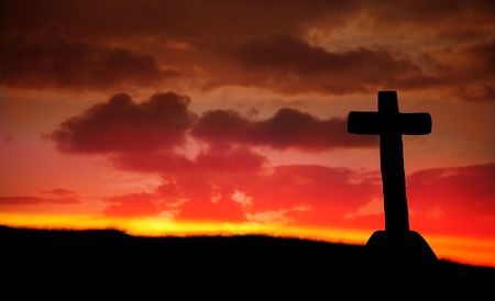 cross silhouette and the clouds at sunset Stock Photo - 5130645