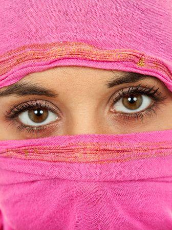young woman with a veil close up portrait studio picture photo