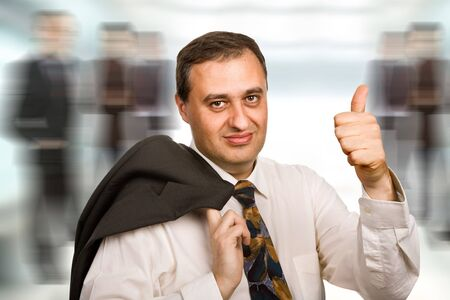 happy mature business man going thumb up Stock Photo - 5143286