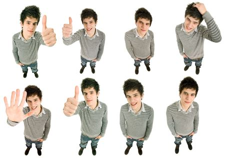 young casual man in different positions, isolated on white photo
