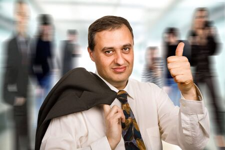 happy mature business man going thumb up Stock Photo - 5186019