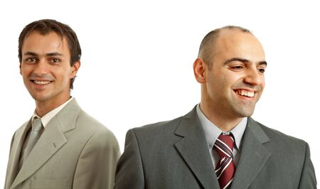 two young business men on white, focus on the right man Stock Photo - 5591538