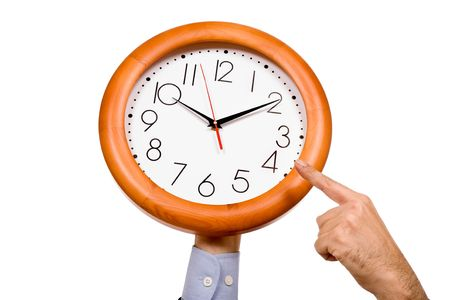 looking at watch: man hand pointing to a clock isolated in white background