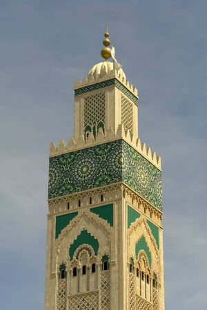marocco: old colored mosque tower detail in Marocco
