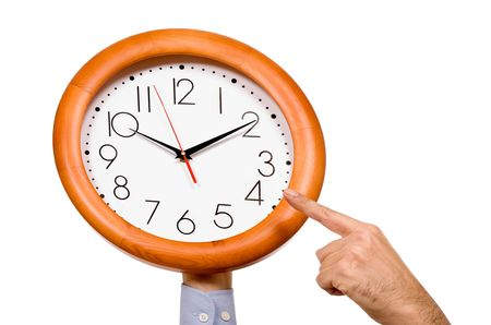 man hand pointing to a clock isolated in white background Stock Photo - 5802808