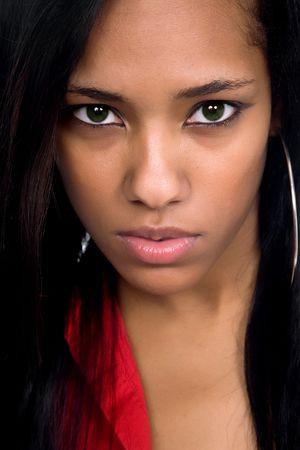 young beautiful woman closeup portrait, studio shot Stock Photo