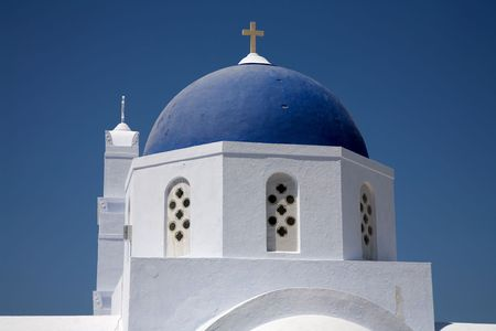 ia: typical church of santorini island, in greece. village of Ia Stock Photo