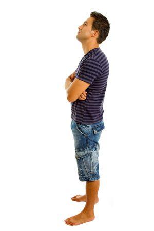jeune homme occasionnels corps dans un arrière-plan blanc