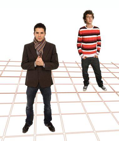 dos hombres jóvenes casuales, foto de cuerpo completo Foto de archivo - 5997122