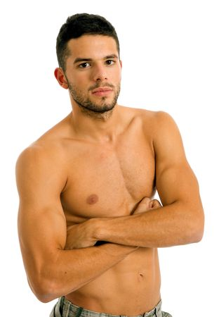 muscular build: young sensual man on a white background