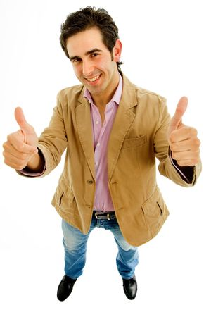 young casual man going thumbs up in a white background photo