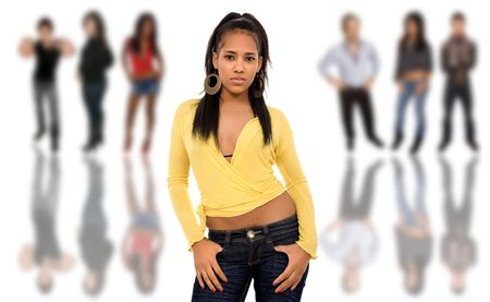 quadrilha: beautiful african young girl in front of a group of people, isolated Banco de Imagens
