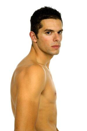 nackter junge: Young casual nackter Mann, isoliert auf weiss